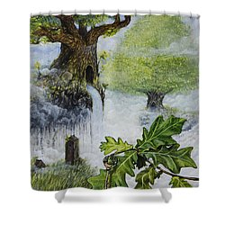 Shower Curtain featuring the painting No Title  by Mariusz Zawadzki