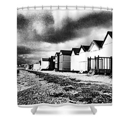 Black And White Beach Huts Shower Curtain