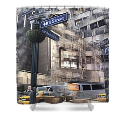Shower Curtain featuring the photograph 44th And Vanderbilt Collage by Dave Beckerman