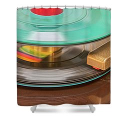 Shower Curtain featuring the photograph 45 Rpm Record In Play Mode by Gary Slawsky