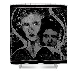 Shower Curtain featuring the digital art 450 - Get Off My Back 2017 by Irmgard Schoendorf Welch