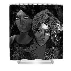 Shower Curtain featuring the digital art 452 - Secrets Of Friendship by Irmgard Schoendorf Welch