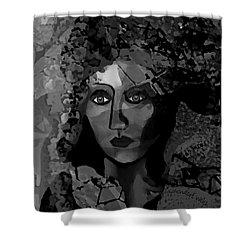 Shower Curtain featuring the digital art 455 - Dark Dreamer by Irmgard Schoendorf Welch