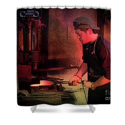 4th Generation Blacksmith, Miki City Japan Shower Curtain