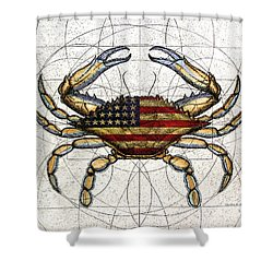 4th Of July Crab Shower Curtain by Charles Harden