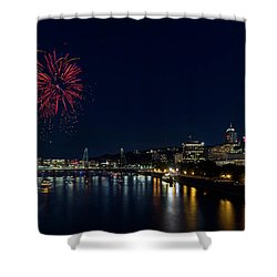 4th Of July Fireworks At Portland Waterfront 2016 Shower Curtain by David Gn