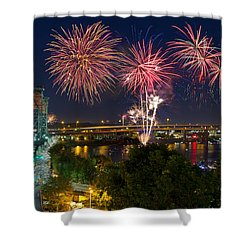 4th Of July Fireworks Shower Curtain by David Gn
