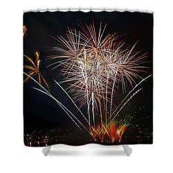 4th Of July Fireworks Display From The Barge Portland Oregon Shower Curtain by David Gn