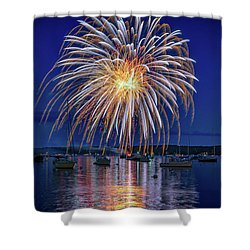 Shower Curtain featuring the photograph 4th Of July Fireworks by Rick Berk