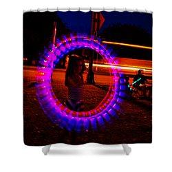 Shower Curtain featuring the photograph 4th Of July - Glow Sticks On A String by George Bostian