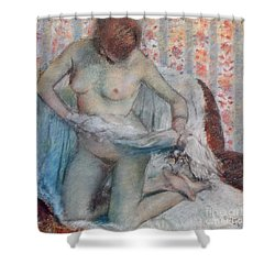 After The Bath Shower Curtain by Edgar Degas