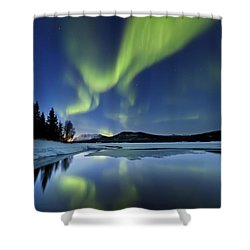 Aurora Borealis Over Sandvannet Lake Shower Curtain
