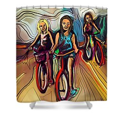 5 Bike Girls Shower Curtain by John Jr Gholson