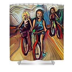 5 Bike Girls Shower Curtain