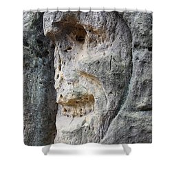 Bizarre Stone Heads - Rock Sculptures Shower Curtain by Michal Boubin