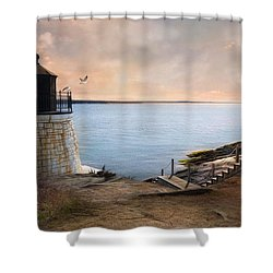 Shower Curtain featuring the photograph Castle Hill Light by Robin-Lee Vieira