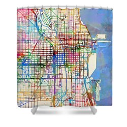 Chicago City Street Map Shower Curtain by Michael Tompsett