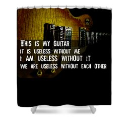 Shower Curtain featuring the photograph Colorful Music Rock N Roll Guitar Retro Distressed  by Guitar Wacky