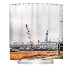 Shower Curtain featuring the pyrography Construction by Yury Bashkin