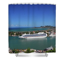 Shower Curtain featuring the photograph Cruise Ship In Port by Gary Wonning
