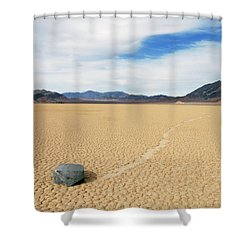 Shower Curtain featuring the photograph Death Valley Racetrack by Breck Bartholomew