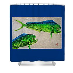 Gyotaku - Mahi Mahi - Dorado - Dolphinfish Shower Curtain