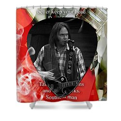 Neil Young Art Shower Curtain by Marvin Blaine