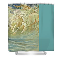 Neptune's Horses Shower Curtain by Walter Crane