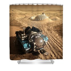 Shower Curtain featuring the digital art Mars Exploration Vehicle by Bryan Versteeg