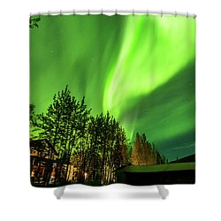 Northern Lights, Aurora Borealis At Kantishna Lodge In Denali National Park Shower Curtain