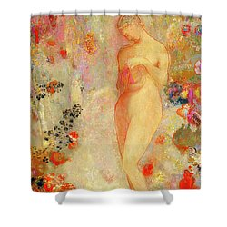 Shower Curtain featuring the painting Pandora by Odilon Redon