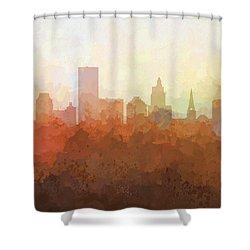 Shower Curtain featuring the digital art Providence Rhode Island Skyline by Marlene Watson
