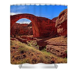 Shower Curtain featuring the photograph Rainbow Bridge Monument by Peter Lakomy