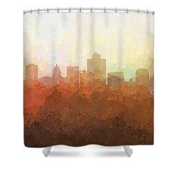Shower Curtain featuring the digital art Salt Lake City Utah Skyline by Marlene Watson