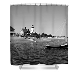 Shower Curtain featuring the photograph Sandy Neck Lighthouse by Charles Harden