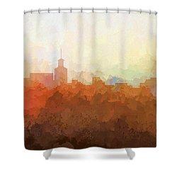 Shower Curtain featuring the digital art Santa Fe New Mexico Skyline by Marlene Watson