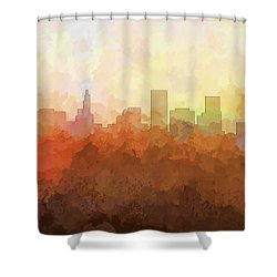 Shower Curtain featuring the digital art St Paul Minnesota Skyline by Marlene Watson