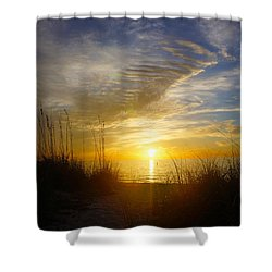 Sunset At Delnor Wiggins Pass State Park In Naples, Fl Shower Curtain