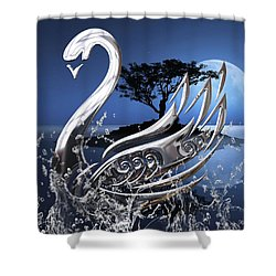 Swan Art. Shower Curtain