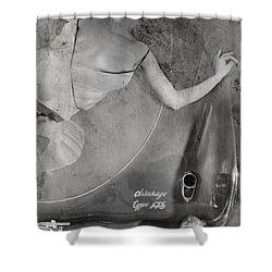 Shower Curtain featuring the photograph The Girl On The Background Of Vintage Car. by Andrey  Godyaykin