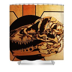 Shower Curtain featuring the pyrography Untitled by Jeff DOttavio
