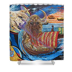 500 Empires Never Die - Odin Shower Curtain