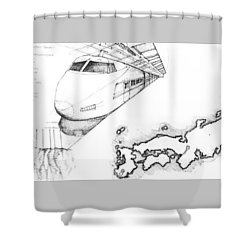 5.1.japan-map-of-country-with-bullet-train Shower Curtain