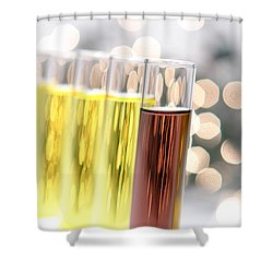 Shower Curtain featuring the photograph Test Tubes In Science Research Lab by Olivier Le Queinec