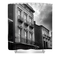 522 Bourbon Street In Black And White Shower Curtain