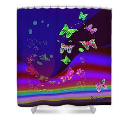 557   Butterflies Dance In The  Night V Shower Curtain