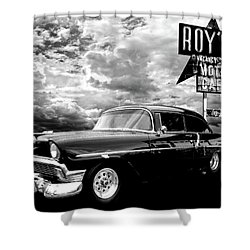 56 Chevy Belair In Black And White Shower Curtain
