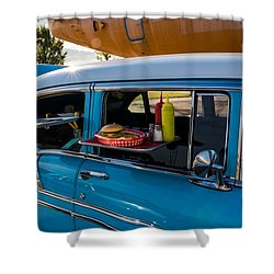 Shower Curtain featuring the photograph 56 Chevy by Jay Stockhaus