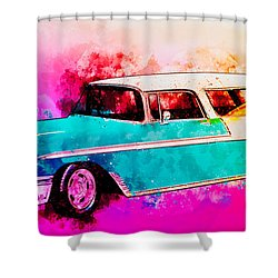 56 Chevy Nomad By The Sea In The Morning With Vivachas Shower Curtain