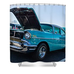 Shower Curtain featuring the photograph 57 Chevy - Ehhs Car Show by Michael Sussman